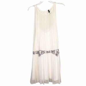 Free People White Sheer Lace Beaded Appliqué Tunic Sleeveless Short Gauzy Dress